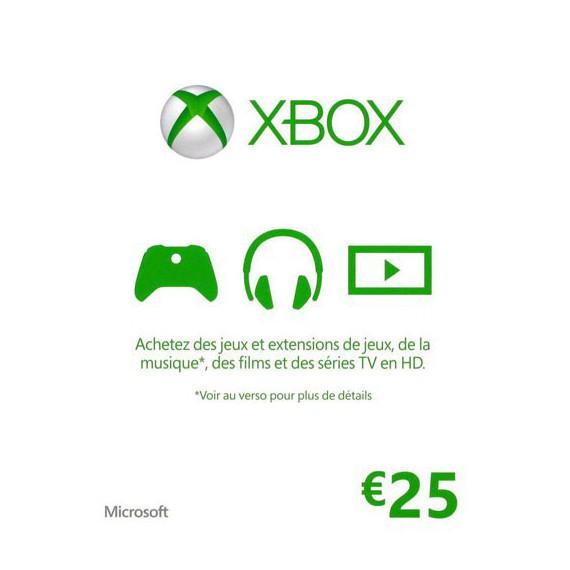 XBOX 1 MICROSOFT XBOX ONE Carte cadeau Xbox Live 25