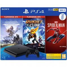 Console Sony PS4 500Go Noire + Spiderman, Horizon Zero Dawn, Rachet & Clank