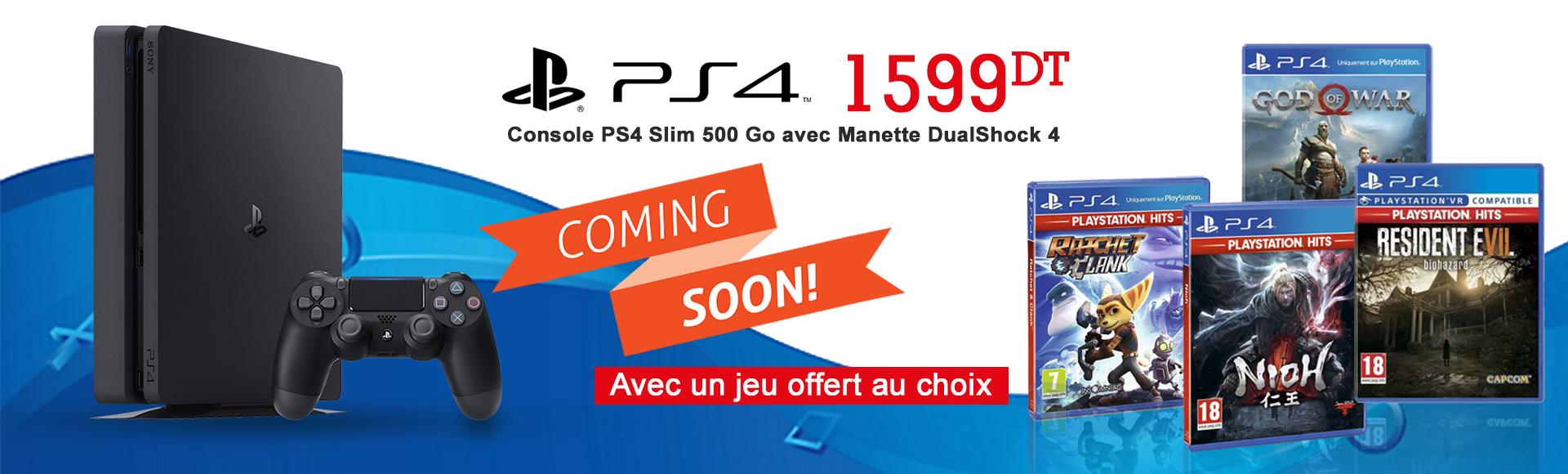 Consoles PS4 Slim 500G noire + 1 jeu au choix